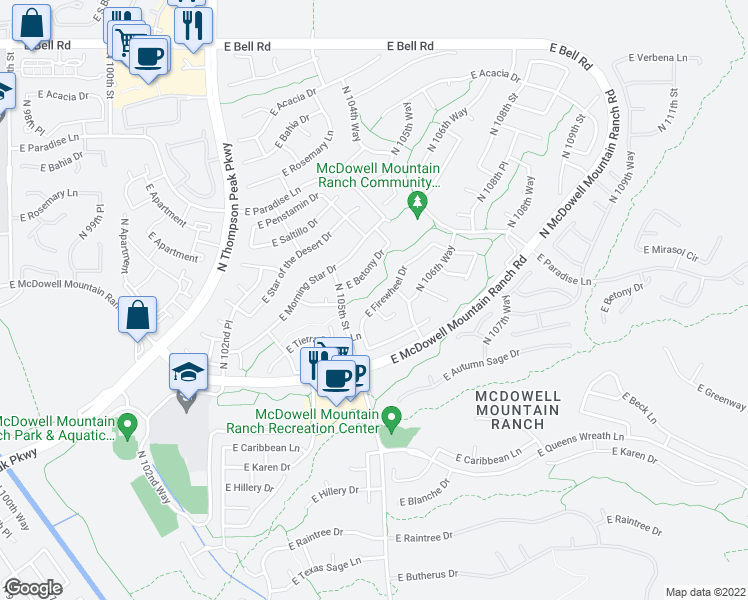 map of restaurants, bars, coffee shops, grocery stores, and more near 10560 East Firewheel Drive in Scottsdale