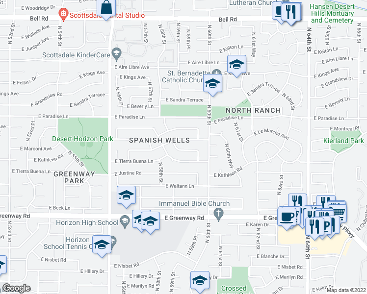 map of restaurants, bars, coffee shops, grocery stores, and more near 5850 East Kathleen Road in Scottsdale