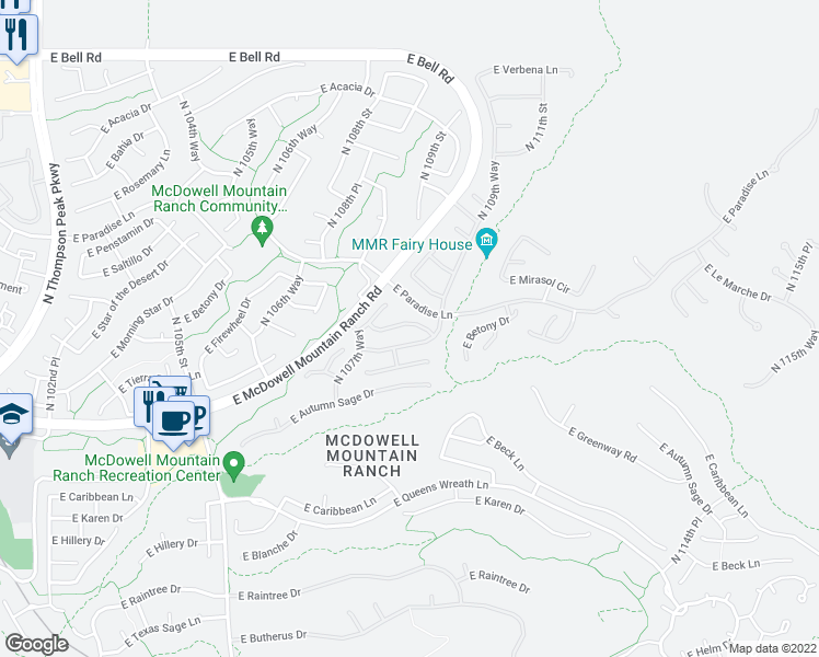 map of restaurants, bars, coffee shops, grocery stores, and more near 10867 East Le Marche Drive in Scottsdale