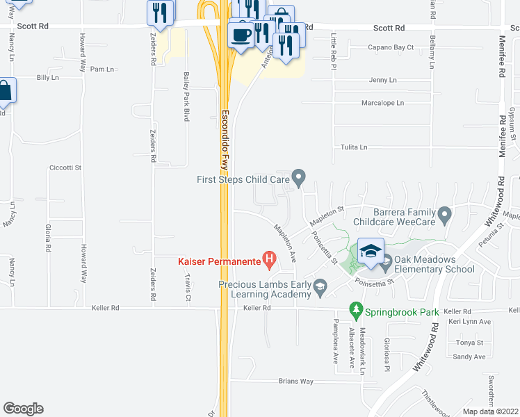map of restaurants, bars, coffee shops, grocery stores, and more near 33600 Mapleton Avenue in Murrieta
