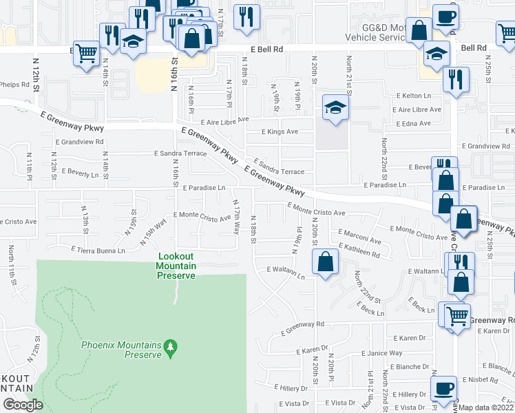 map of restaurants, bars, coffee shops, grocery stores, and more near 15873 North 18th Street in Phoenix