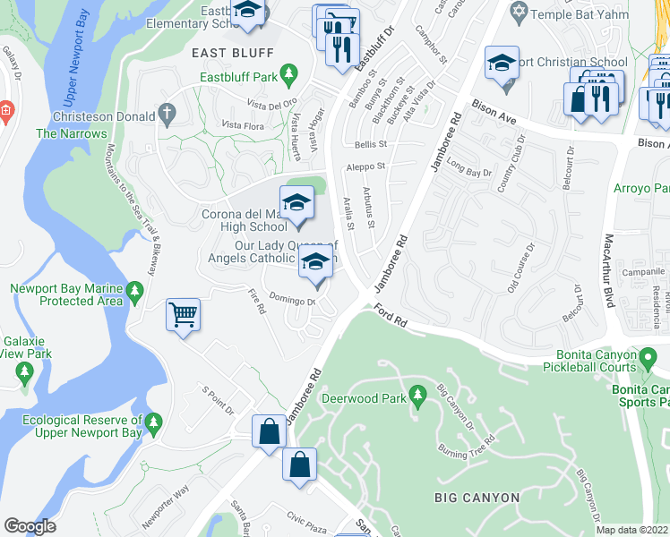 map of restaurants, bars, coffee shops, grocery stores, and more near 2135-2213 Eastbluff Drive in Newport Beach