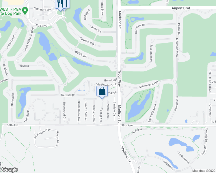 map of restaurants, bars, coffee shops, grocery stores, and more near 80895 Via Puerta Azul in La Quinta
