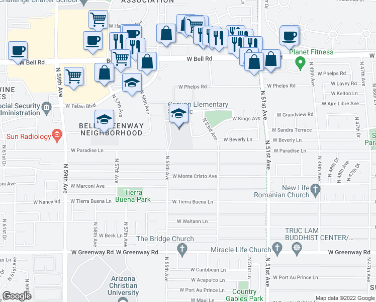map of restaurants, bars, coffee shops, grocery stores, and more near 5333 Kings Avenue in Glendale