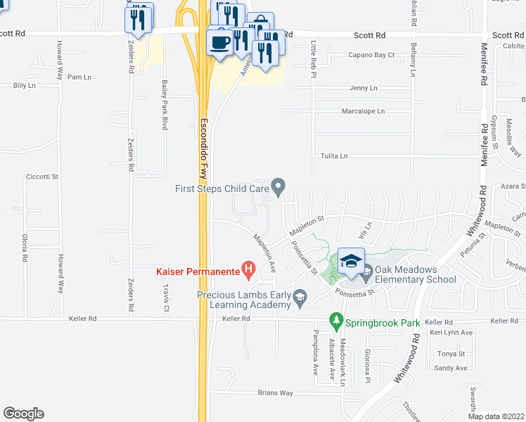 map of restaurants, bars, coffee shops, grocery stores, and more near 33610 Mapleton Avenue in Murrieta
