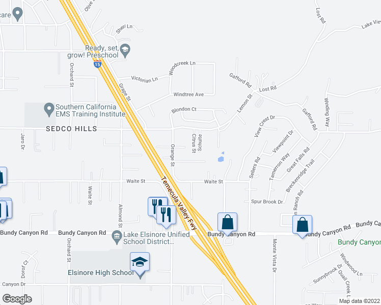 map of restaurants, bars, coffee shops, grocery stores, and more near 22087 Lemon Street in Wildomar