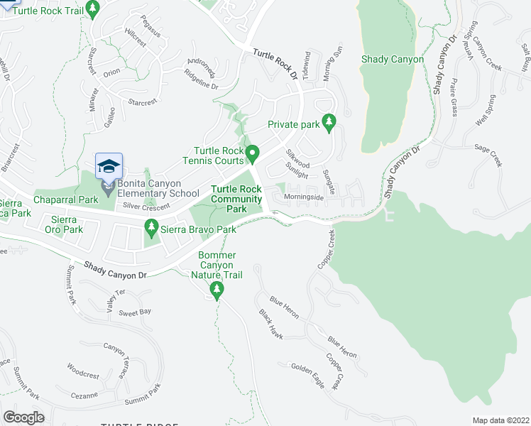 map of restaurants, bars, coffee shops, grocery stores, and more near 94 Sunnyhill in Irvine