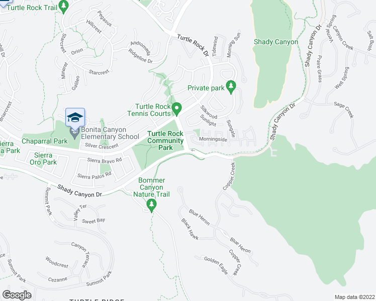 map of restaurants, bars, coffee shops, grocery stores, and more near 97 Sunnyhill in Irvine