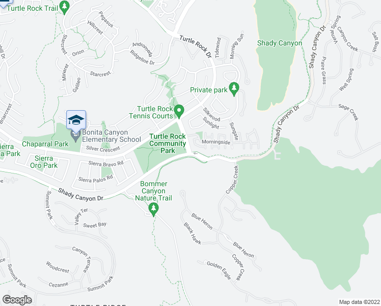 map of restaurants, bars, coffee shops, grocery stores, and more near 99 Sunnyhill in Irvine