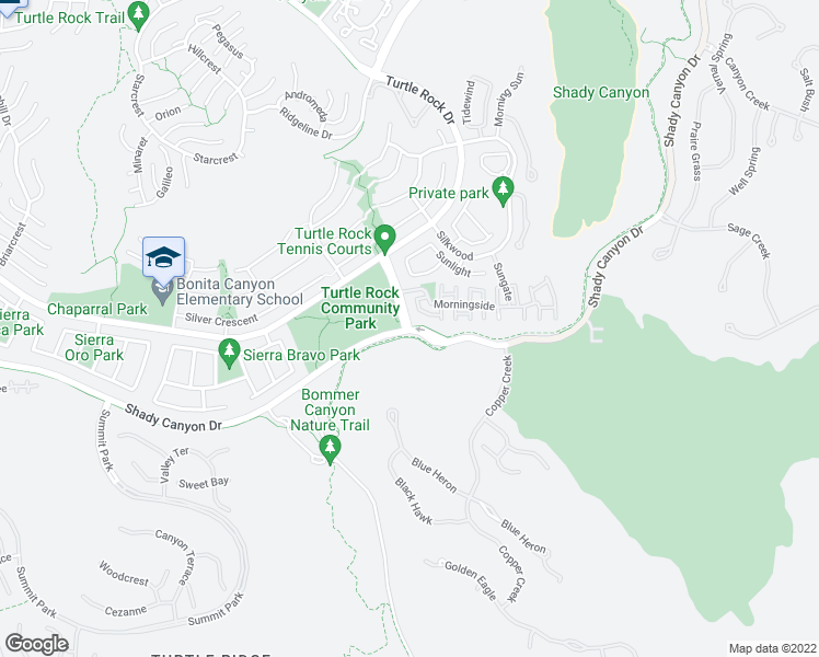 map of restaurants, bars, coffee shops, grocery stores, and more near 95 Sunnyhill in Irvine