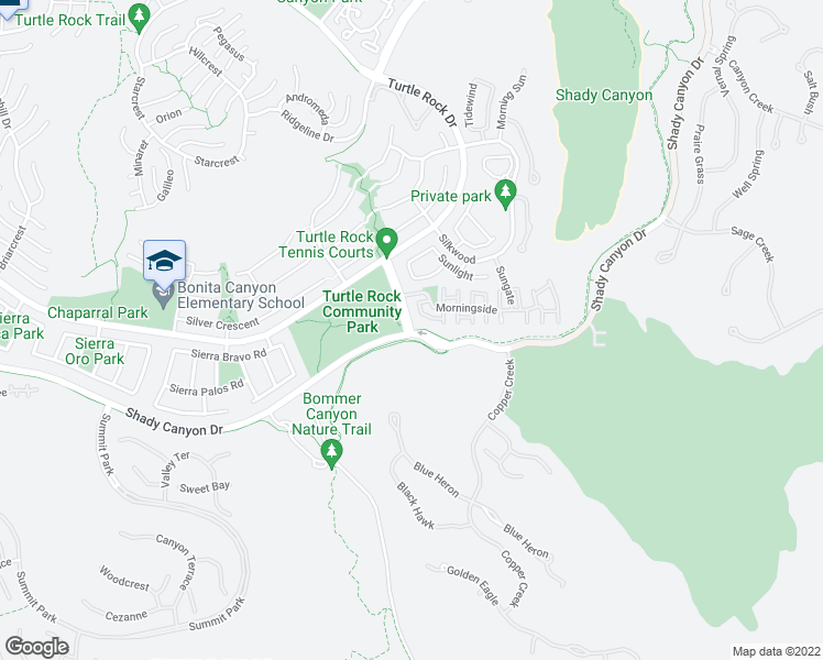 map of restaurants, bars, coffee shops, grocery stores, and more near 89 Sunnyhill in Irvine