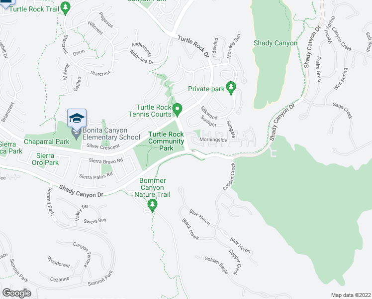 map of restaurants, bars, coffee shops, grocery stores, and more near 84 Sunnyhill in Irvine