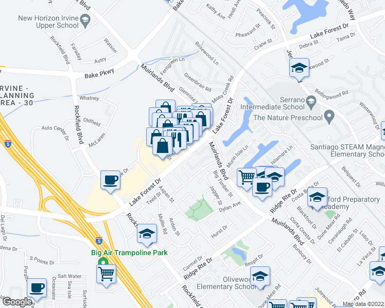map of restaurants, bars, coffee shops, grocery stores, and more near 22704-22706 Lake Forest Drive in Lake Forest