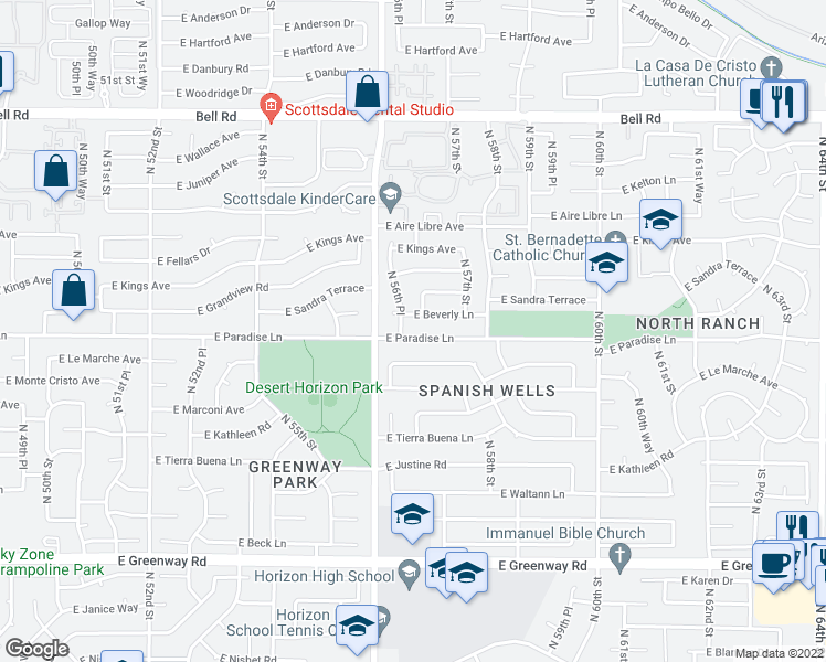 map of restaurants, bars, coffee shops, grocery stores, and more near 5630 East Paradise Lane in Scottsdale