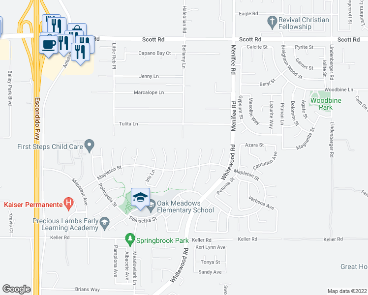 map of restaurants, bars, coffee shops, grocery stores, and more near 33547 Poppy Lane in Murrieta