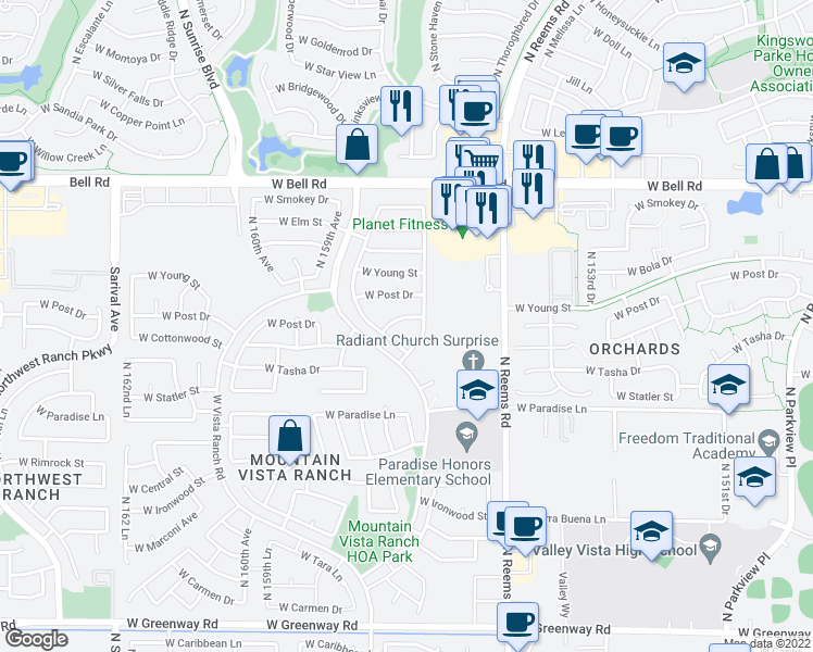 map of restaurants, bars, coffee shops, grocery stores, and more near 15718 West Cottonwood Street in Surprise