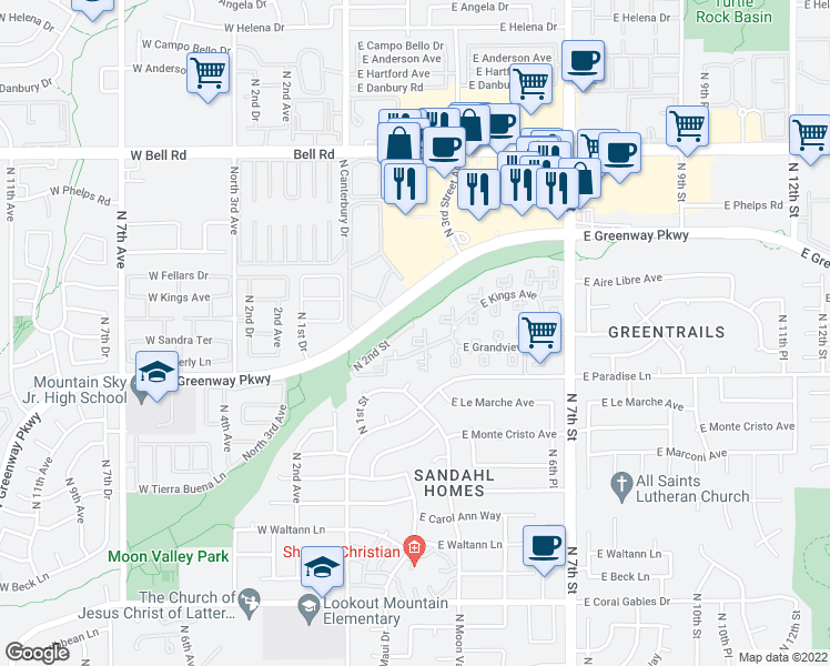 map of restaurants, bars, coffee shops, grocery stores, and more near 16220 North 7th Street in Phoenix