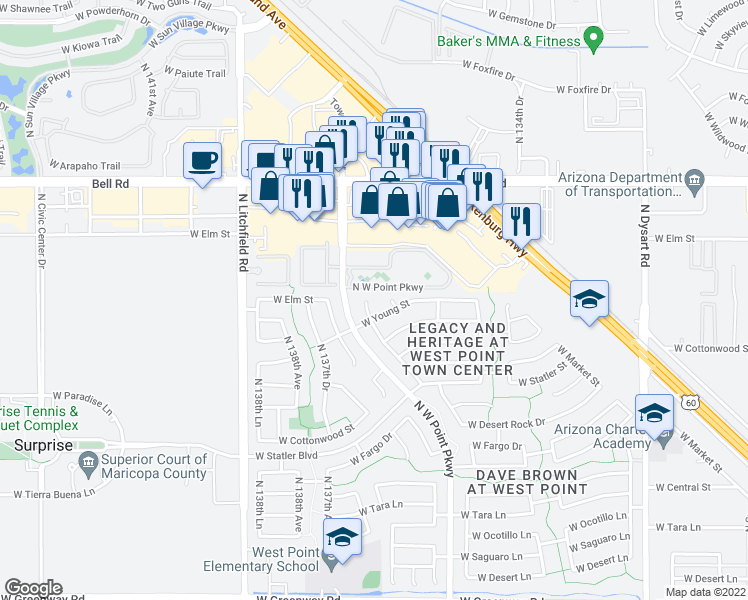 map of restaurants, bars, coffee shops, grocery stores, and more near 16543 North Naegel Drive in Surprise