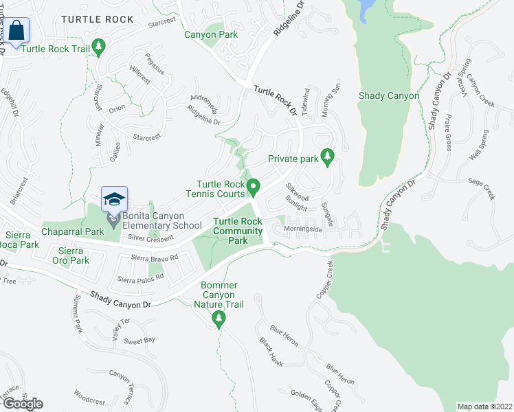 map of restaurants, bars, coffee shops, grocery stores, and more near 19 Sunnyhill in Irvine