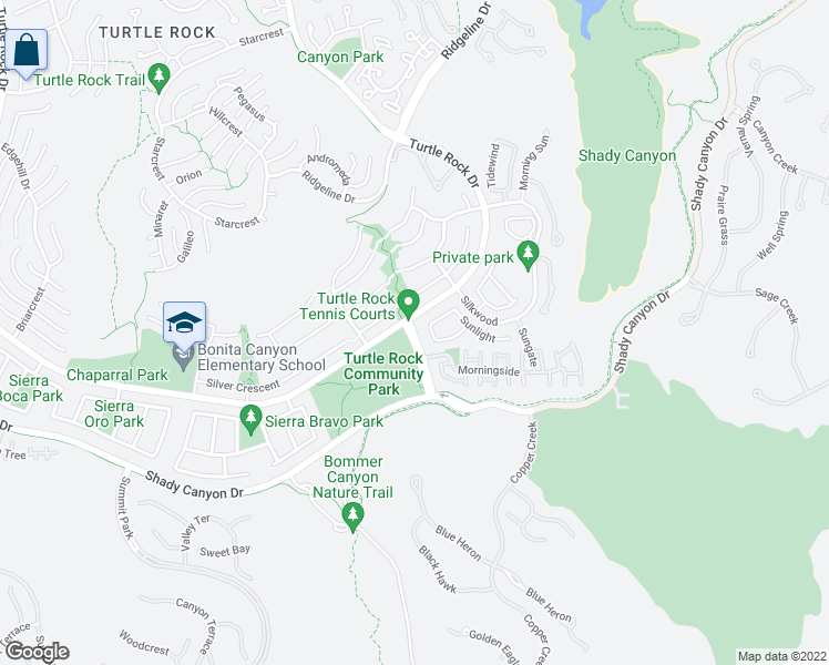map of restaurants, bars, coffee shops, grocery stores, and more near 17 Sunnyhill in Irvine