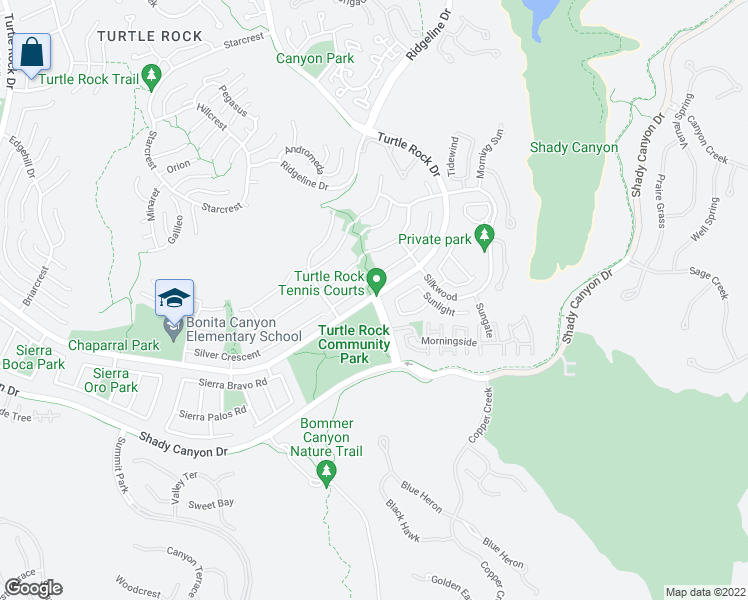 map of restaurants, bars, coffee shops, grocery stores, and more near 4 Sunnyhill in Irvine