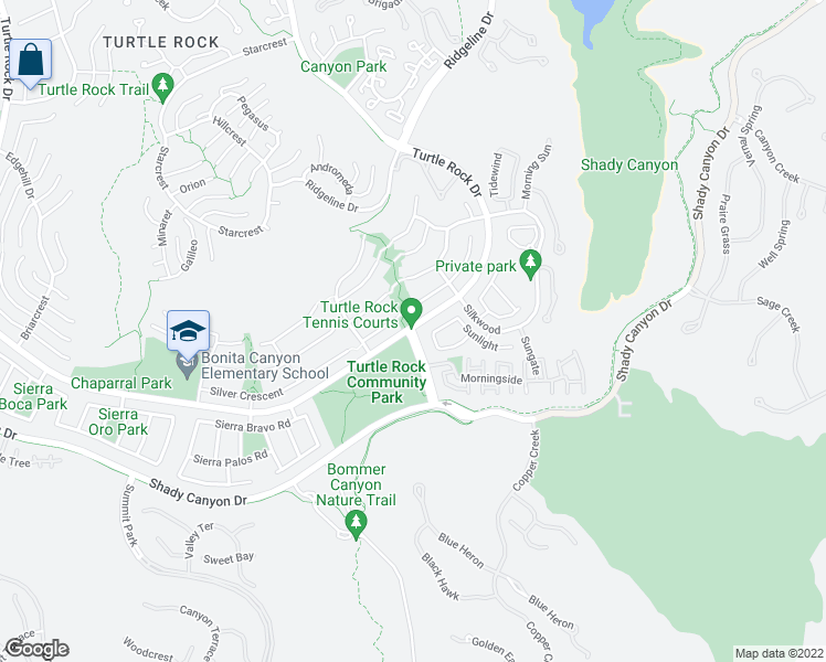 map of restaurants, bars, coffee shops, grocery stores, and more near 5 Sunnyhill in Irvine