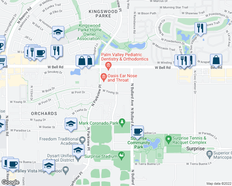 map of restaurants, bars, coffee shops, grocery stores, and more near North Stadium Way in Surprise