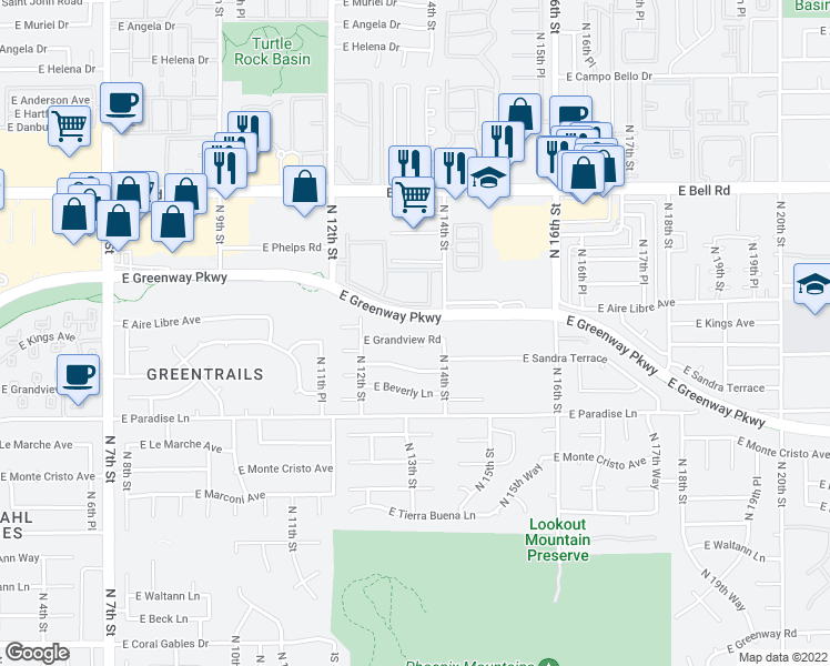 map of restaurants, bars, coffee shops, grocery stores, and more near 1308 East Grandview Road in Phoenix