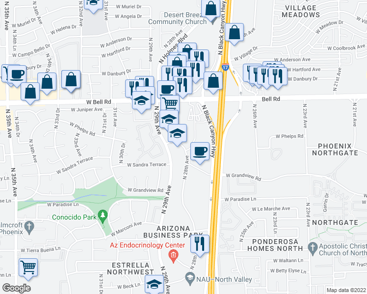 map of restaurants, bars, coffee shops, grocery stores, and more near 16632-16698 North 28th Avenue in Phoenix