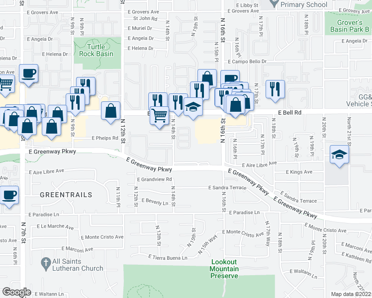 map of restaurants, bars, coffee shops, grocery stores, and more near 16825 North 14th Street in Phoenix