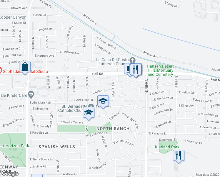 map of restaurants, bars, coffee shops, grocery stores, and more near 6126 East Kelton Lane in Scottsdale