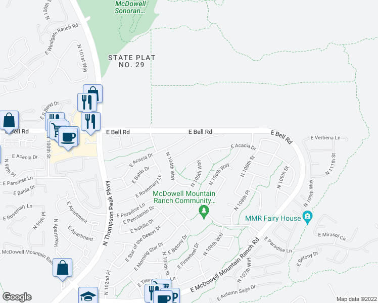 map of restaurants, bars, coffee shops, grocery stores, and more near 10531 East Bahia Drive in Scottsdale