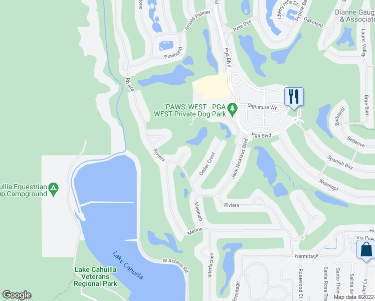 map of restaurants, bars, coffee shops, grocery stores, and more near 79880 Pecan Valley in La Quinta