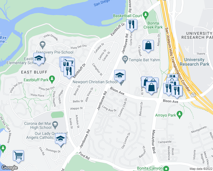 map of restaurants, bars, coffee shops, grocery stores, and more near Jamboree Road in Newport Beach