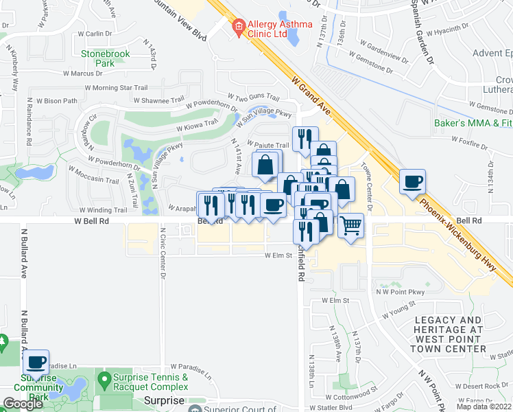 map of restaurants, bars, coffee shops, grocery stores, and more near 14020 West Bell Road in Surprise
