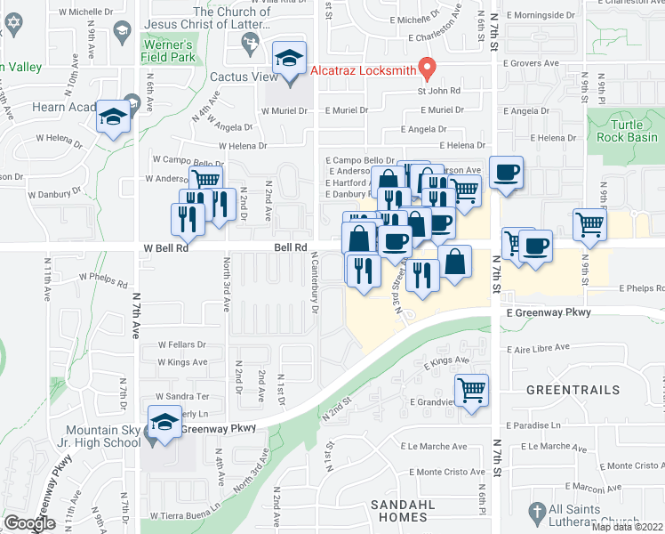 map of restaurants, bars, coffee shops, grocery stores, and more near 11 East Bell Road in Phoenix