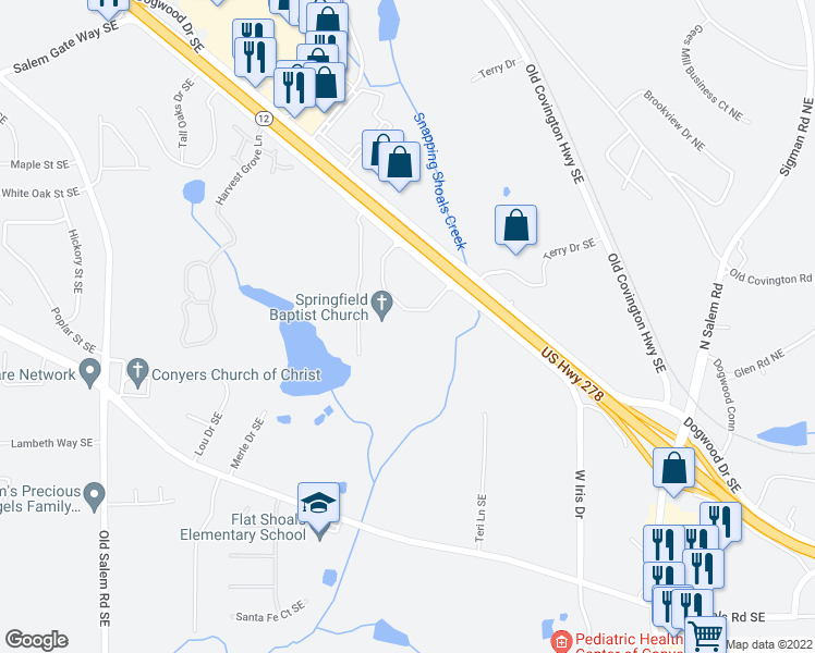 map of restaurants, bars, coffee shops, grocery stores, and more near 1873 Iris Drive Southeast in Conyers