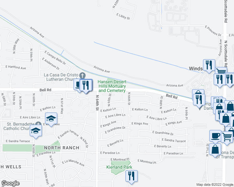 map of restaurants, bars, coffee shops, grocery stores, and more near 6518 East Juniper Avenue in Scottsdale