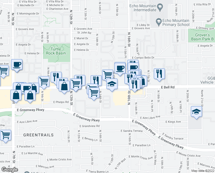 map of restaurants, bars, coffee shops, grocery stores, and more near 1410-1436 East Bell Road in Phoenix
