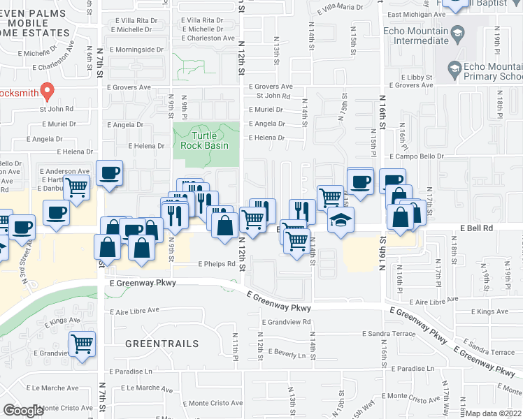 map of restaurants, bars, coffee shops, grocery stores, and more near 17017 North 12th Street in Phoenix