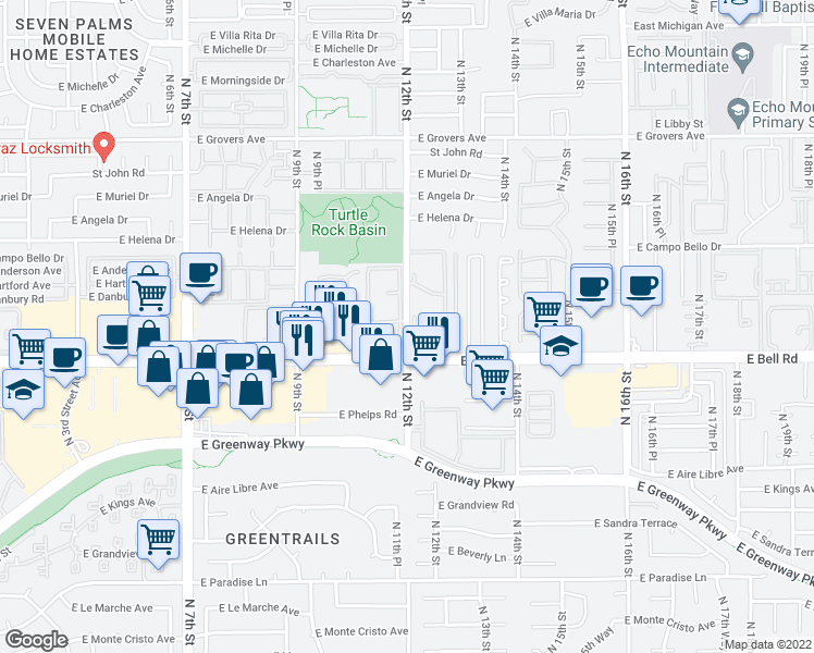map of restaurants, bars, coffee shops, grocery stores, and more near 1100 East Bell Road in Phoenix
