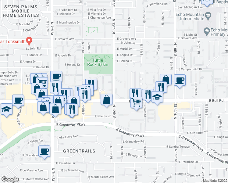 map of restaurants, bars, coffee shops, grocery stores, and more near 1100 Ea