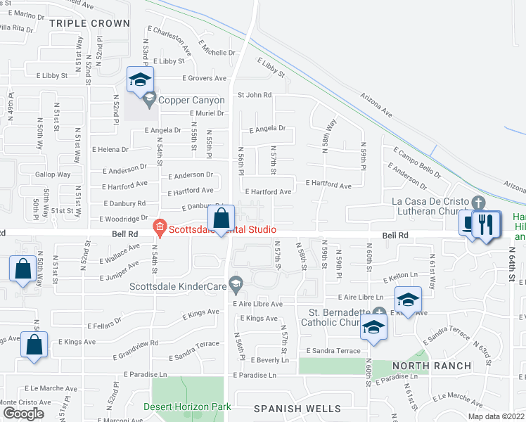 map of restaurants, bars, coffee shops, grocery stores, and more near 5640 East Bell Road in Scottsdale