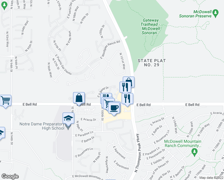 map of restaurants, bars, coffee shops, grocery stores, and more near 10079 East Hillside Drive in Scottsdale