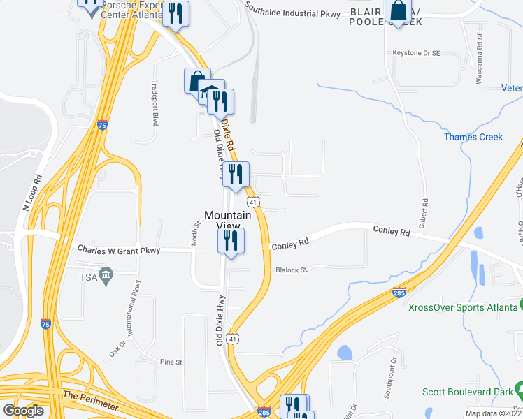 map of restaurants, bars, coffee shops, grocery stores, and more near 0 Conley Road in Atlanta