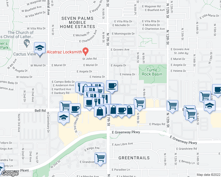 map of restaurants, bars, coffee shops, grocery stores, and more near 17249 North 7th Street in Phoenix