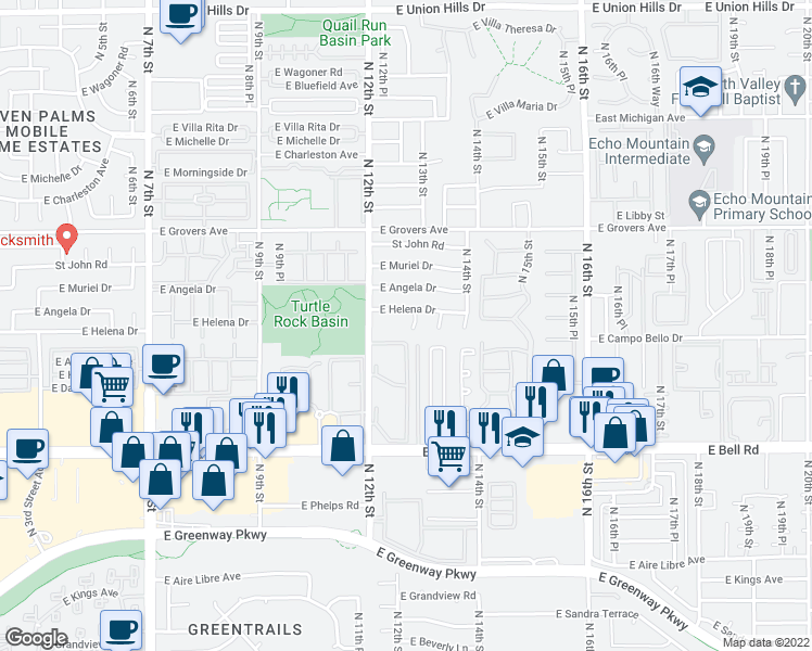 map of restaurants, bars, coffee shops, grocery stores, and more near 17412 North 13th Street in Phoenix