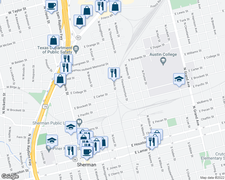 map of restaurants, bars, coffee shops, grocery stores, and more near 806 North Broughton Street in Sherman