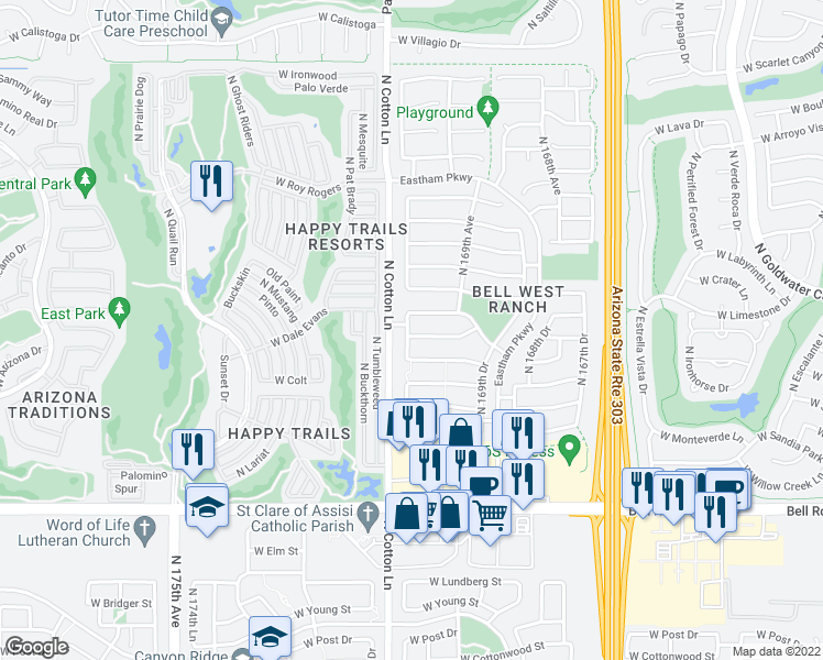 map of restaurants, bars, coffee shops, grocery stores, and more near 18482 West Ipswitch Way in Surprise