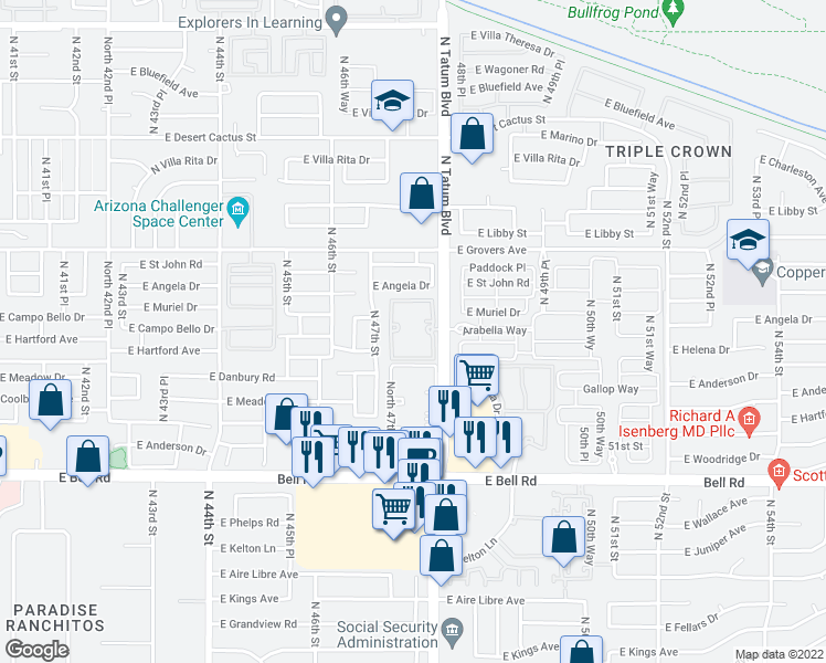 map of restaurants, bars, coffee shops, grocery stores, and more near 17440 North Tatum Boulevard in Phoenix
